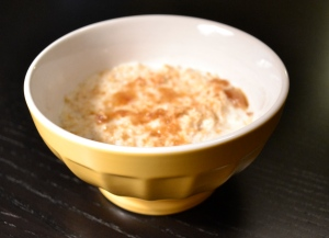 "A bowl of oatmeal ""from scratch"" -- simpler and better than cooking flavored oatmeal from a packet."